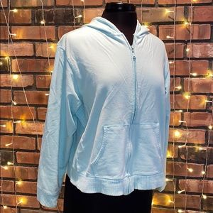 Hanes Light Blue Zip Up Sweatshirt Hoodie Casual